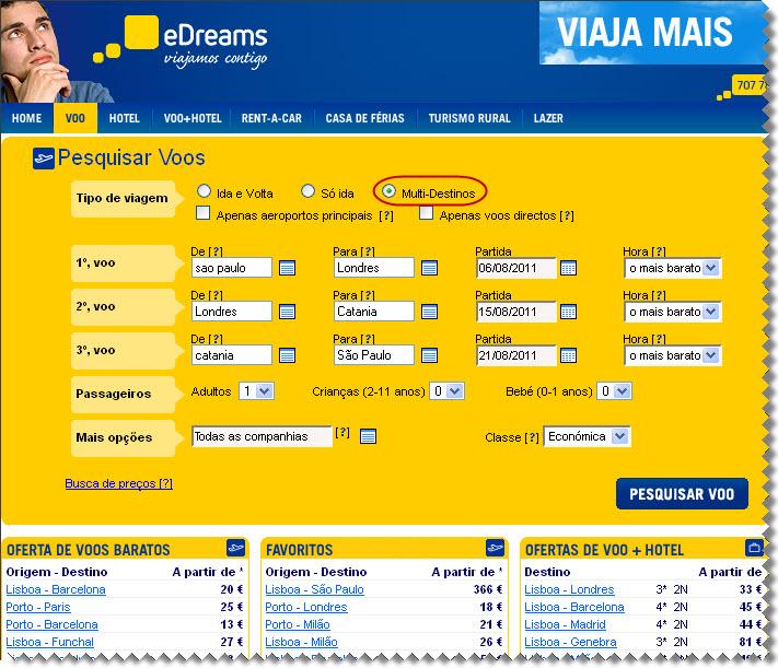 Opções de pesquisa multidestino E-Dreams