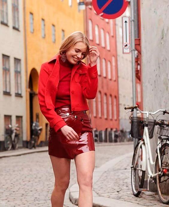 roupas de fim de ano look monocromático vermelho